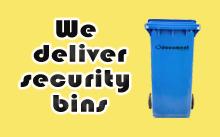 Delivering security bins fod document shredding